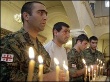 Georgian soldiers mark the first anniversary of the Georgian-Russian war