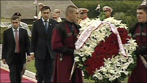 President Saakashvili and wreath