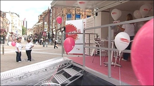 MMR roadshow on Briggate in Leeds