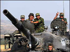 A Russian tank leaves a checkpoint on the Gori-Tbilisi road