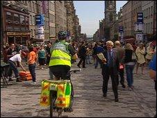 Paramedic on bike in Edinburgh