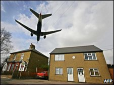 Passenger jet preparing to land at Heathrow Airport
