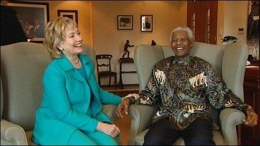 Hillary Clinton meets Nelson Mandela