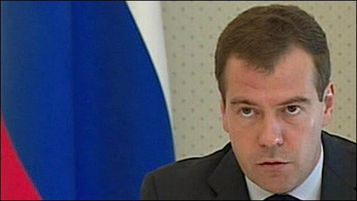 Russian President Dmitry Medvedev on the anniversary of the conflict with Georgia