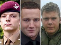 Pte Kyle Adams, Cpl Kevin Mulligan and L/Cpl Dale Thomas Hopkins