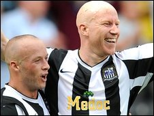 "Notts County""s Lee Hughes celebrates with team mate Luke Rodgers (left)"