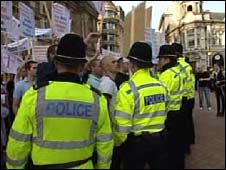 Police and anti-fascist protesters in Birmingham