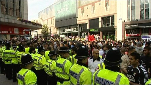 Police at demonstration in Birmingham
