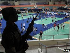 A guard at the World Badminton Championships