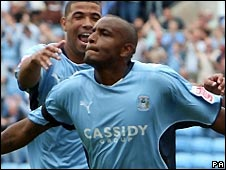 Clinton Morrison celebrates scoring for Coventry
