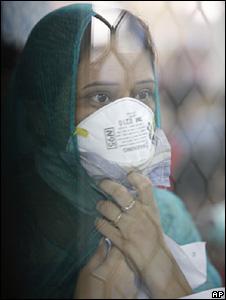 A girl at a swine flu testing facility in Delhi