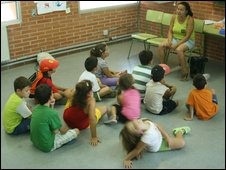 children sitting in front of a teacher at school