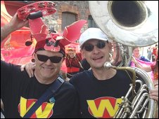 Members of Cardiff-based Wonderbrass take part in the parade