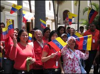 Venezuelans gathering for a parade
