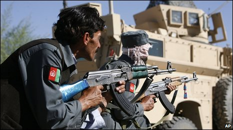 Afghan police in Pul-i-Alam