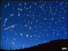 Perseid meteor track over Tucson Mountain Park, Arizona