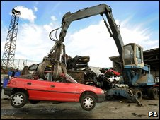 A car being scrapped