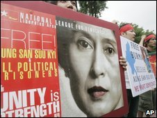 Protest in Seoul, South Korea, calling for Aung San Suu Kyi's release - 8 August 2009