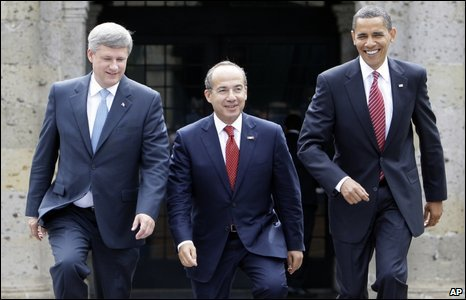 Harper, Calderon and Obama in Guadalajara