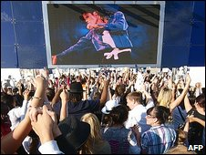 Michael Jackson fans outside the O2 in London