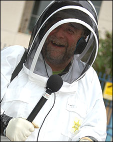 Rony Robinson in a beekeeping suit
