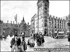 Drawing of Owen's College and the Manchester Museum