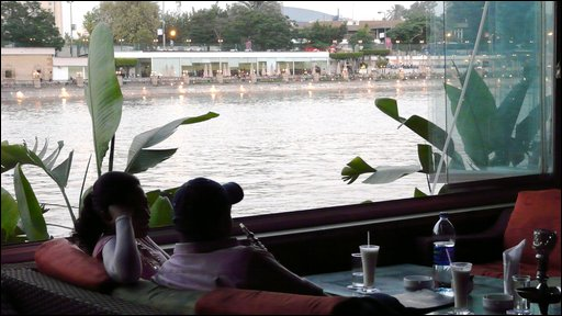 Customers at Bon Bini Bar enjoy the Nile view