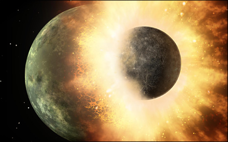 Artist's impression of planetary collision (Nasa/JPL-Caltech)