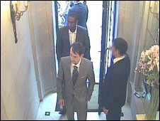 CCTV images showing the suspects (centre) entering Graff Jewellers