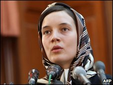 Detained French lecturer Clotilde Reiss defends herself during a hearing at a revolutionary court in Tehran on 8 August