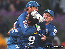 Deccan Chargers players celebrate winning the 2009 IPL