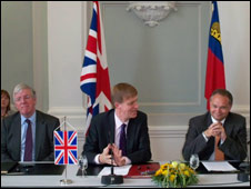 The deal being announced in Liechtenstein