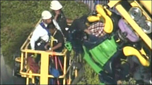 Fire crews carry out rollercoaster rescue