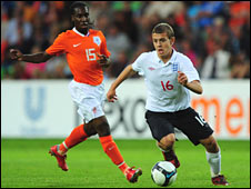 Jack Wilshere in action for England Under-21s