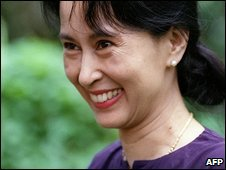 Burmese opposition leader Aung San Suu Kyi (13 July 1995)