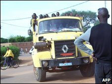 A truck holding prisoners, including Marou Amadou, in Niamey 11 August