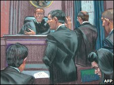 Artist impression of the court hearing. Mr DiPascali standing in the centre