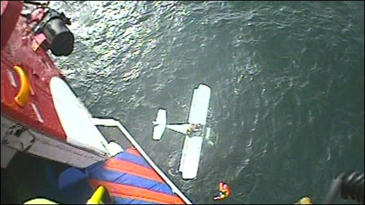 Rescue helicopter airlifts pilot to safety from Irish sea