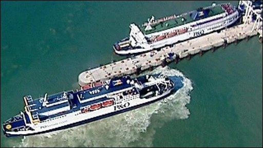 Aerial footage of cargo ships