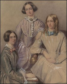 Painting of three women, possibly Emily, Charlotte and Anne Bronte.