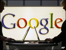 Laptops and Google logo