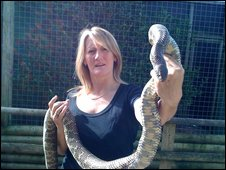 One of the centre's owner, Lynda Bridges with the Florida Kingsnake