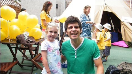 Andy Day, from Cbeebies, entertains children at the Pleasance kidszone