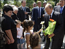 Russian Prime Minister Vladimir Putin in Abkhazia on 12 August 2009