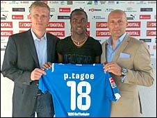 Prince Tagoe being unveiled as a Hoffenheim player