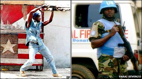 A rebel fighter (left - PIC: AP) and a UN soldier (right - PIC: Farai Sevenzo)