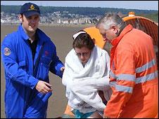 Burnham Hovercraft helping a distressed person