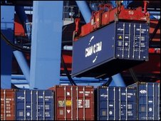 A container being unloaded in Hamburg