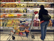 Shopper in a French supermarket