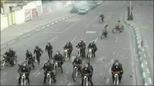 Basij forces on motorbikes